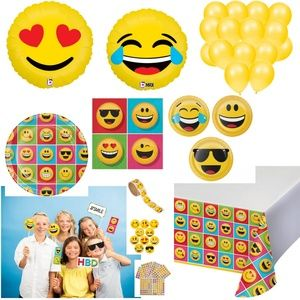 Emoji Party Plates Balloons Prop Decorations for 8